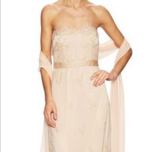 Mikael Aghal blush pink lace appliqué gown